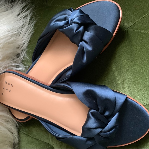 Navy Blue Bow Knot Slippers Slides